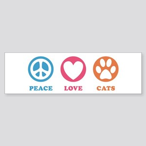 Peace Love Cats [r] Sticker (Bumper)